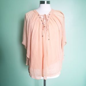 Rose + Olive Orange (peach) Top With Criss-Cross